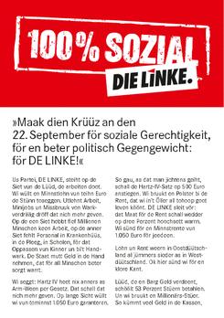 Kurzwahlprogramm der Partei DIE LINKE in plattdeutscher Sprache