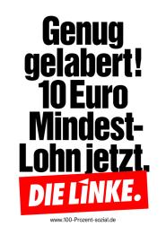 Genug gelabert! Mindestlohn jetzt! (Plakat der Partei DIE LINKE zur Bundestagswahl 2013)