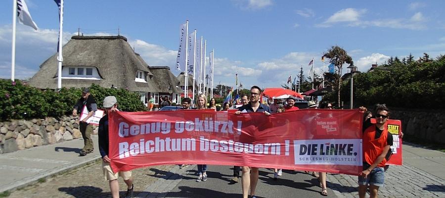 Demostration der Partei DIE LINKE in Kampen (Sylt).