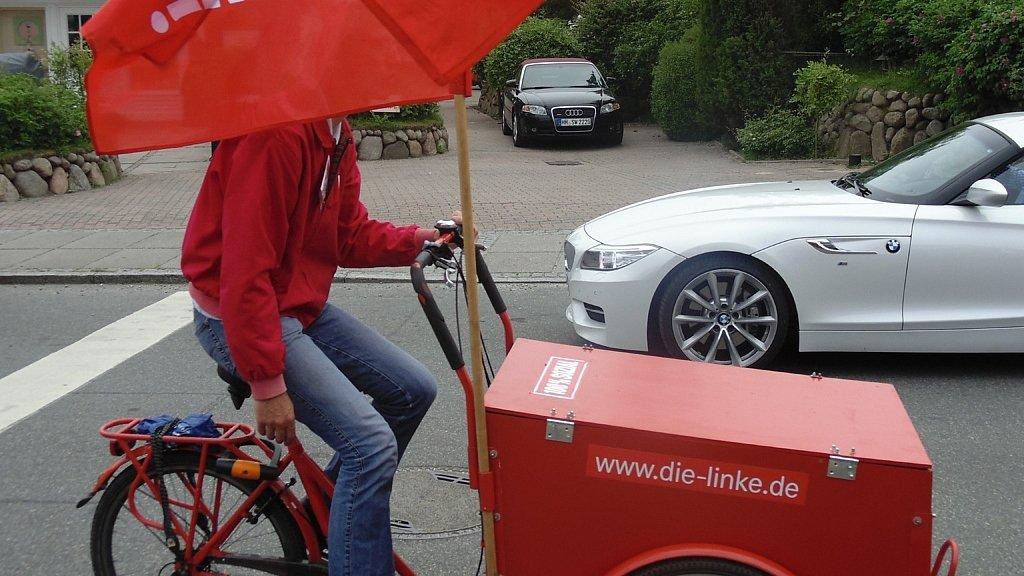 Lastenfahrrad der Partei DIE LINKE in Kampen auf Sylt