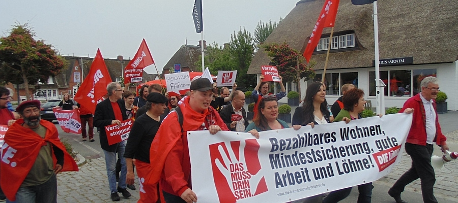 Demonstration der Partei DIE LINKE in Kampen auf Sylt.