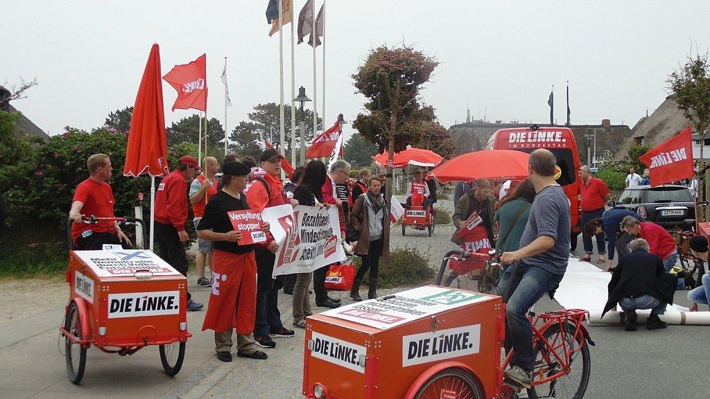 Demonstration der Partei DIE LINKE in Kampen auf Sylt.