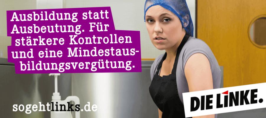 Ausbildung statt Ausbeutung. Für stärkere Kontrollen und eine Mindesausbildungsvergütung. #sogehtlinks (DIE LINKE. Schleswig-Holstein)