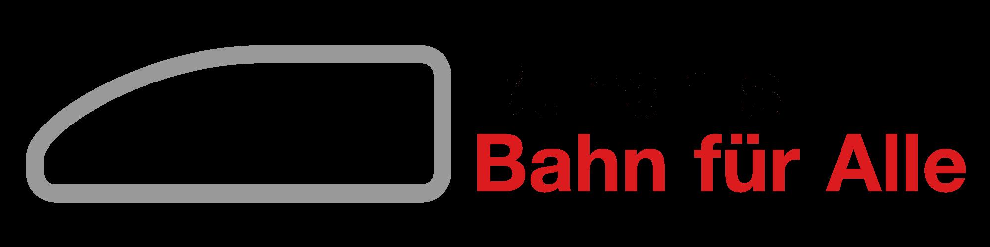 """Schriftzug: """"Bündnis Bahn für Alle"""", links davon eine stilisierte Lokomotive."""