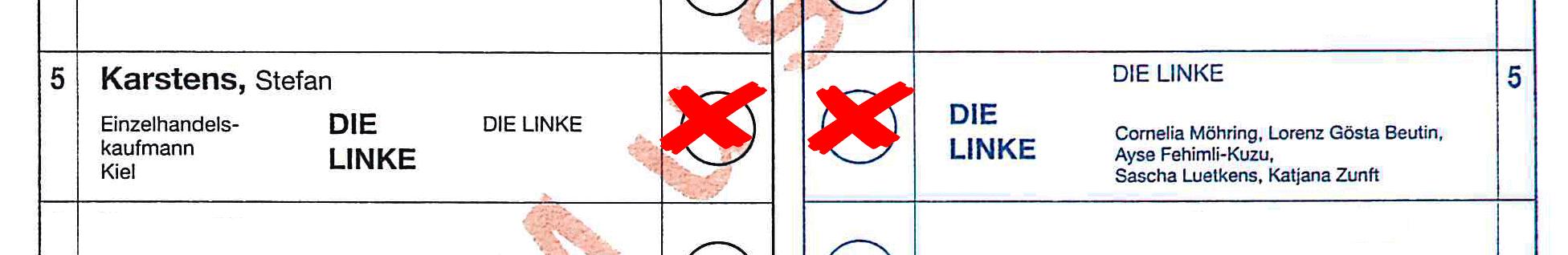 Ausschnitt aus Musterstimmzettel für den Bundestagswahlkreis Rendsburg-Eckernförde zur Bundestagswahl 2017.