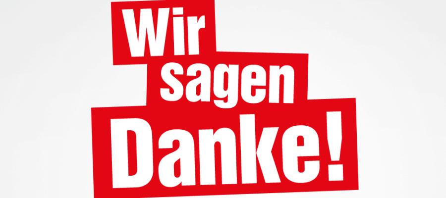 """Inhalt der Textgrafik: """"Wir sagen Danke!"""""""