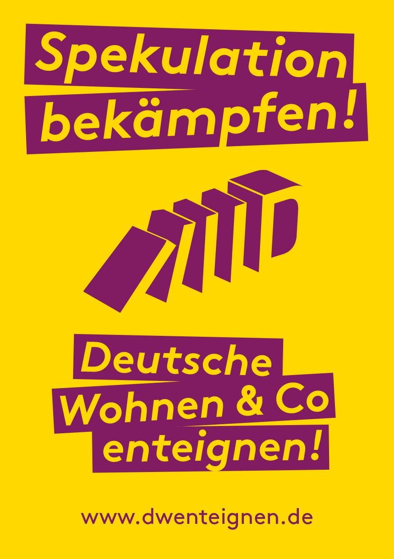 Sticker mit der Aufschrift: Spekulation bekämpfen! Deutsche Wohnen & Co enteignen! www.dwenteignen.de