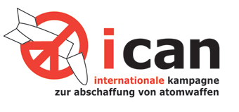 """Schriftzug: """"ican germany - internationale kampagne zur abschaffung von atomwaffen"""", links davon eine durchgestrichene Bombe."""