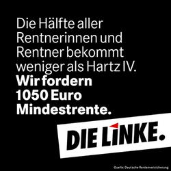 Die Hälfte aller Rentnerinnen und Rentner bekommt weniger als Hartz IV. Wir fordern 1050 Euro Mindestrente (DIE LINKE.)