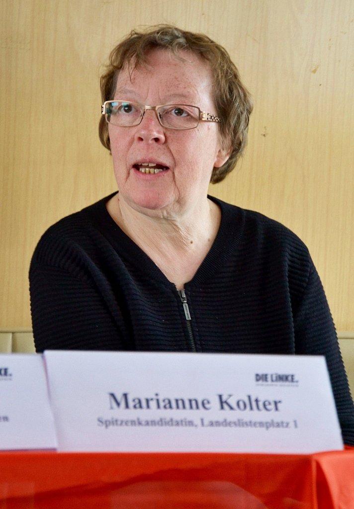Marianne Kolter, Spitzenkandidatin der Partei DIE LINKE zur Landtagswahl 2017 in Schleswig-Holstein.
