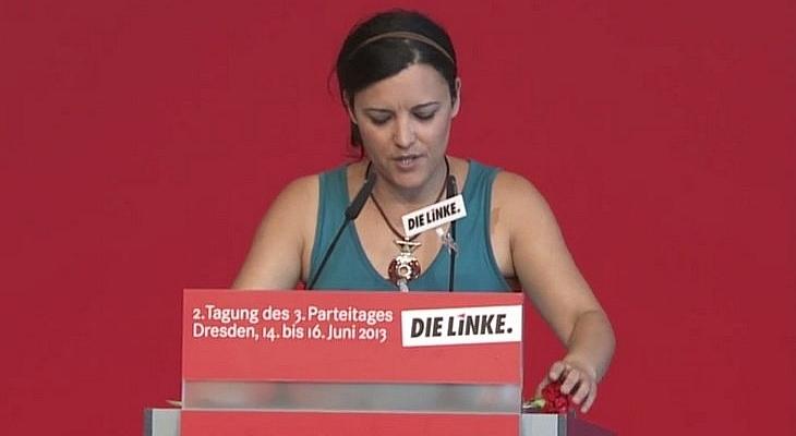Foto von Marisa Matias beim Bundesparteitag de LINKEN in Dresden, 2013.