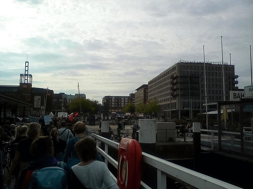 Ein Demonstrationszug in Kiel, der über die Hörnbrücke geht.